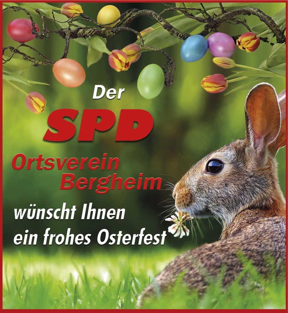 Osteranzeige der SPD mit Hasen und bunten Eiern