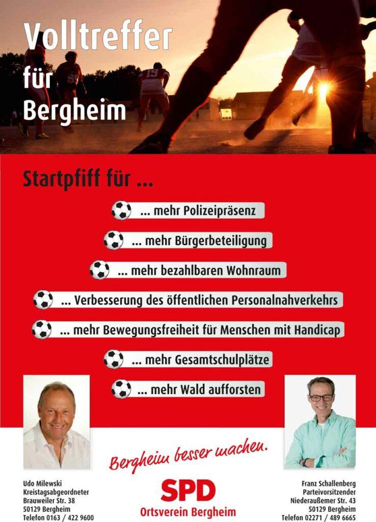 Fußballanzeige der SPD - Fußballer und Foto von Udo Milewski und Franz Schallenberg